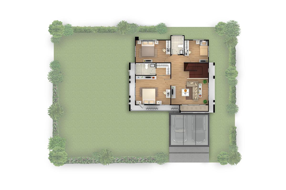 บ้านเดี่ยว ฮาบิเทีย พาร์ค เทียนทะเล 28 - HBP4  ชั้นบน