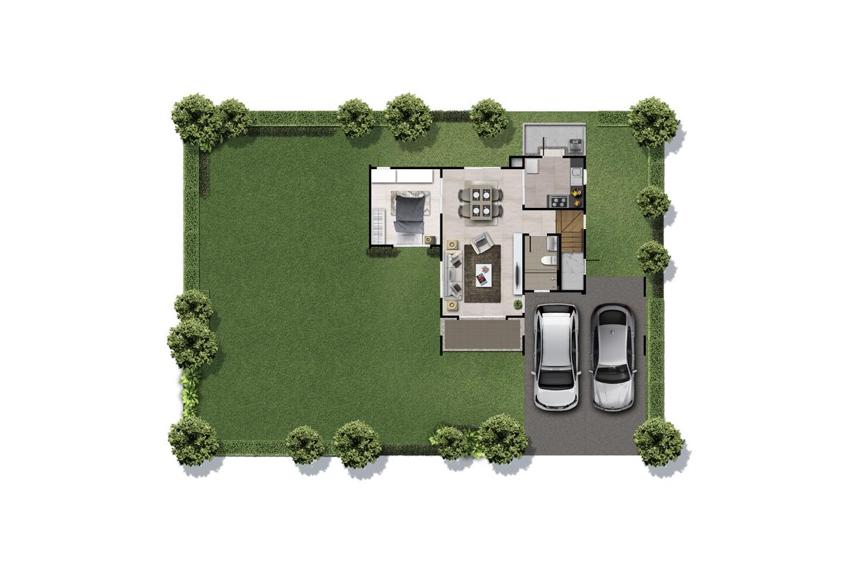 บ้านเดี่ยว ฮาบิเทีย พาร์ค เทียนทะเล 28 - HBP6   ชั้นล่าง