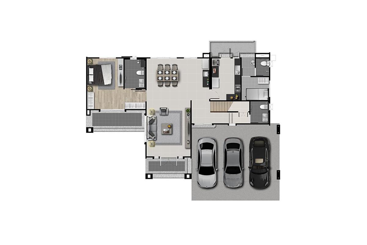 บ้านเดี่ยว นาราสิริ พระราม 2 - แบบบ้าน Edmund ชั้น 1