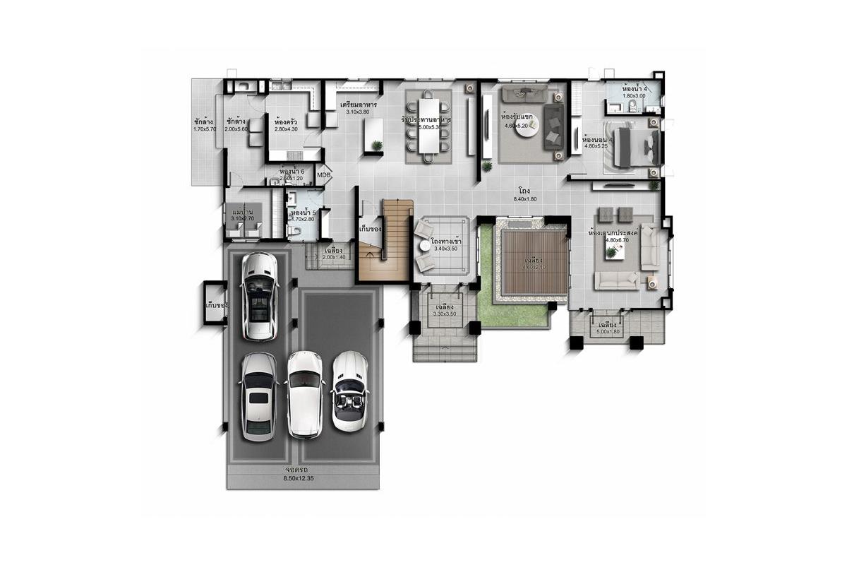 บ้านเดี่ยว นาราสิริ พระราม 2 - แบบบ้าน Jardine ชั้น 1