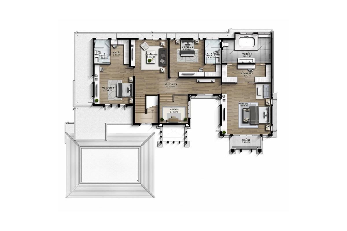 บ้านเดี่ยว นาราสิริ พระราม 2 - แบบบ้าน Jardine ชั้น 2