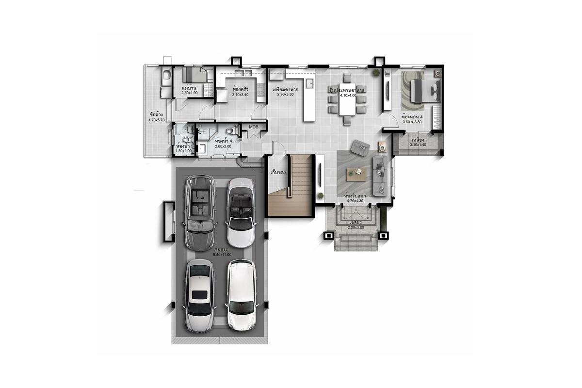 บ้านเดี่ยว นาราสิริ พระราม 2 - แบบบ้าน Lalique ชั้น 1
