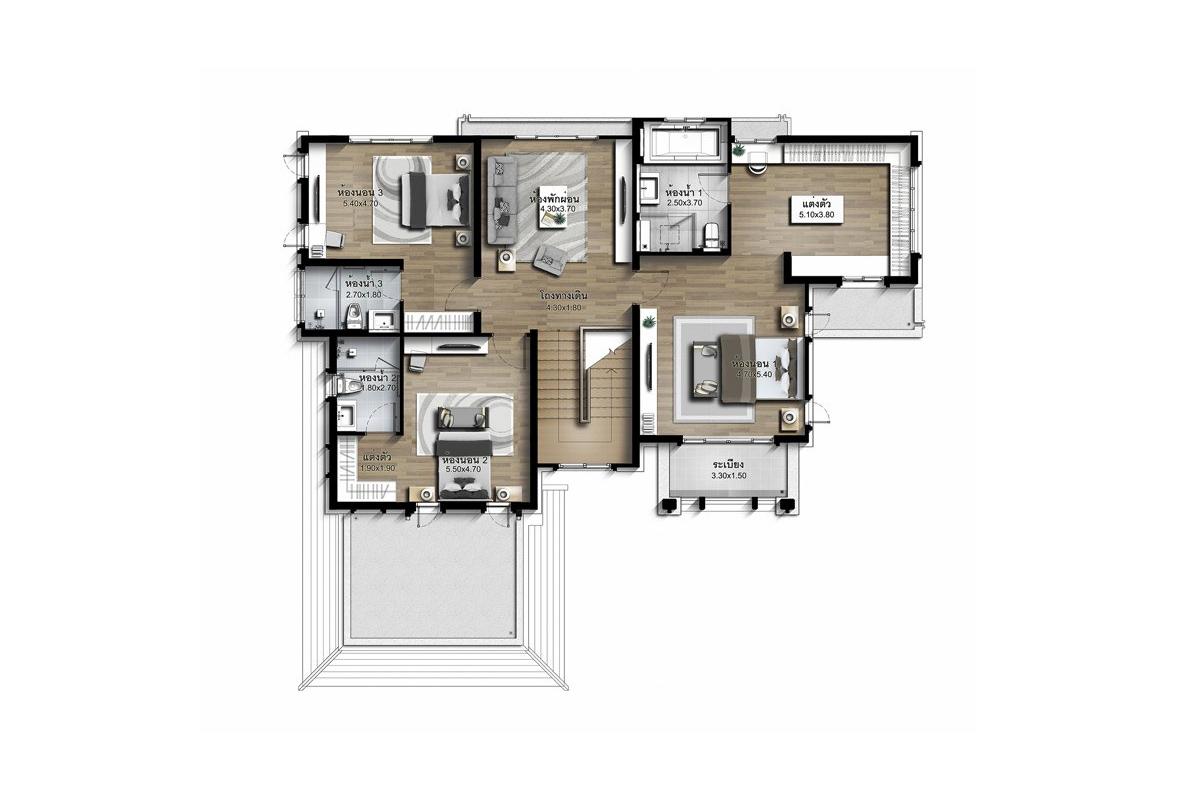 บ้านเดี่ยว นาราสิริ พระราม 2 - แบบบ้าน Lalique ชั้น 2