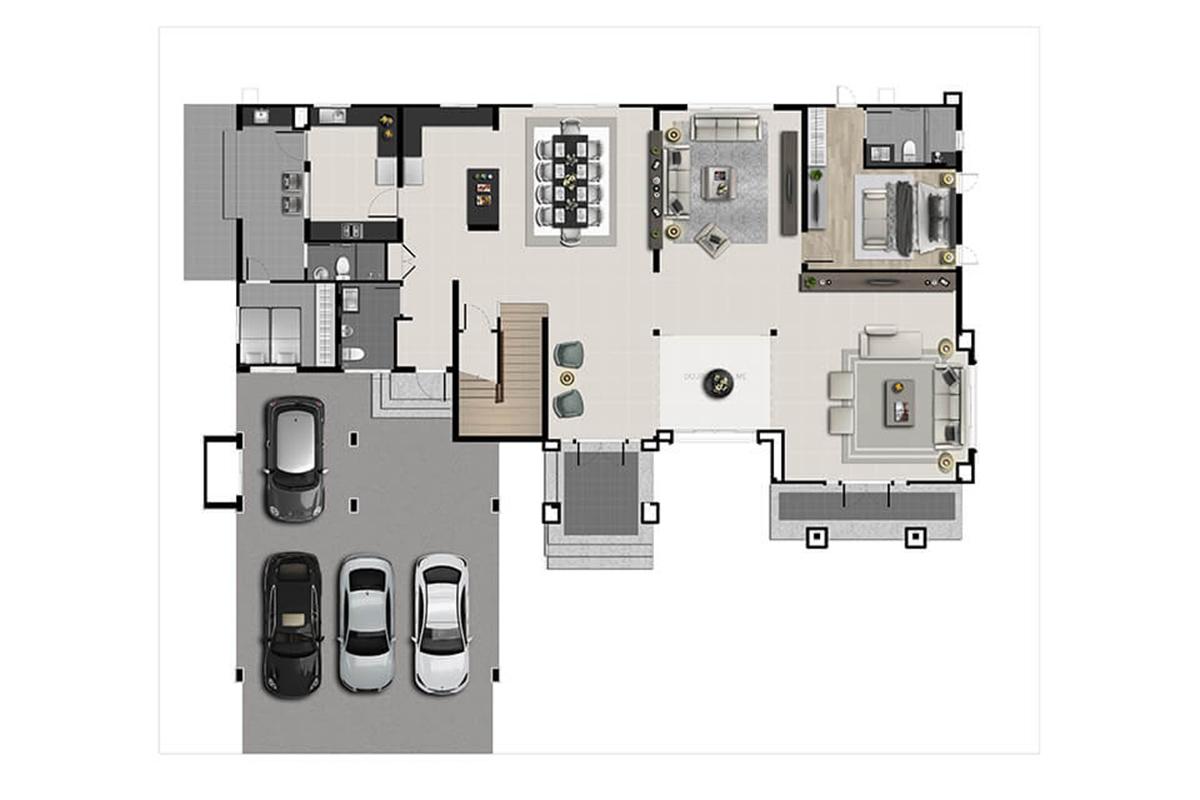 บ้านเดี่ยว นาราสิริ พระราม 2 - แบบบ้าน Lindbergh ชั้น 1
