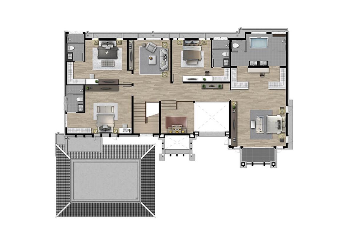 บ้านเดี่ยว นาราสิริ พระราม 2 - แบบบ้าน Lindbergh ชั้น 2