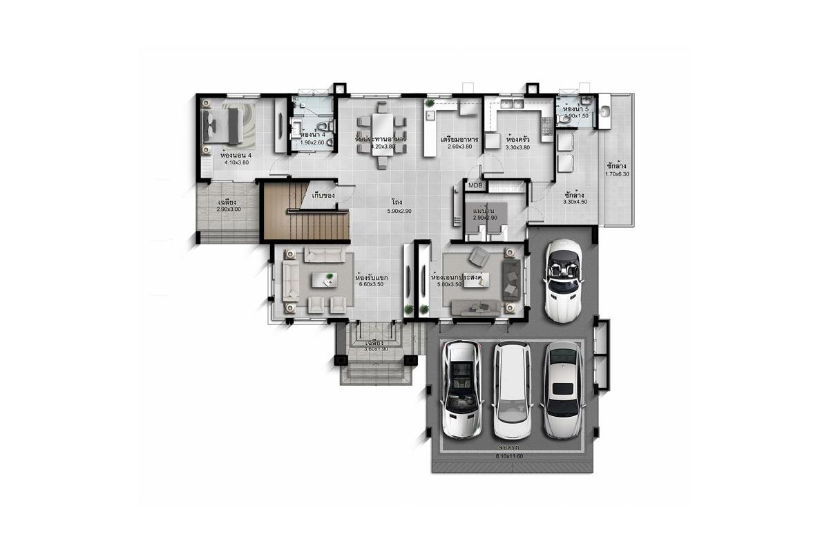 บ้านเดี่ยว นาราสิริ พระราม 2 - แบบบ้าน Marco ชั้น 1