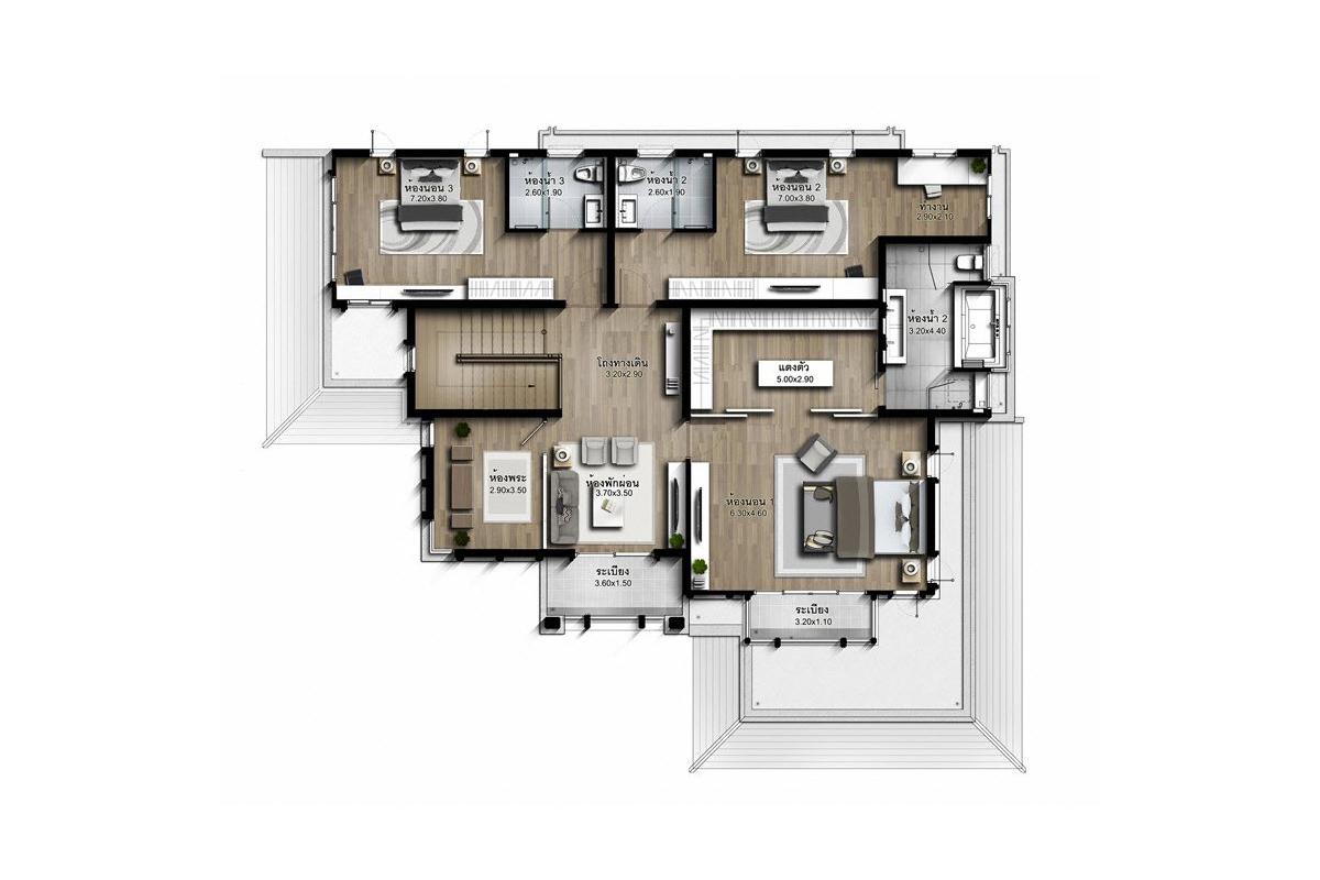 บ้านเดี่ยว นาราสิริ พระราม 2 - แบบบ้าน Marco ชั้น 2