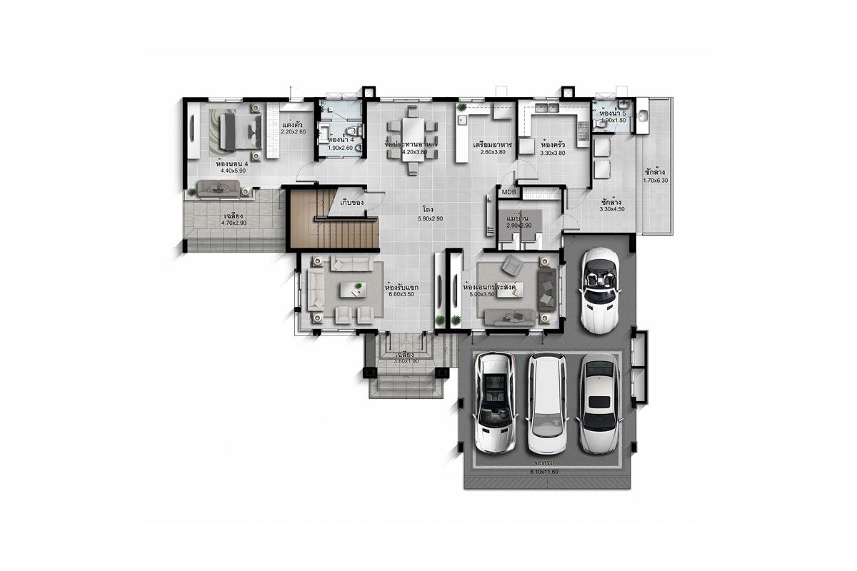 บ้านเดี่ยว นาราสิริ พระราม 2 - แบบบ้าน Marco B ชั้น 1