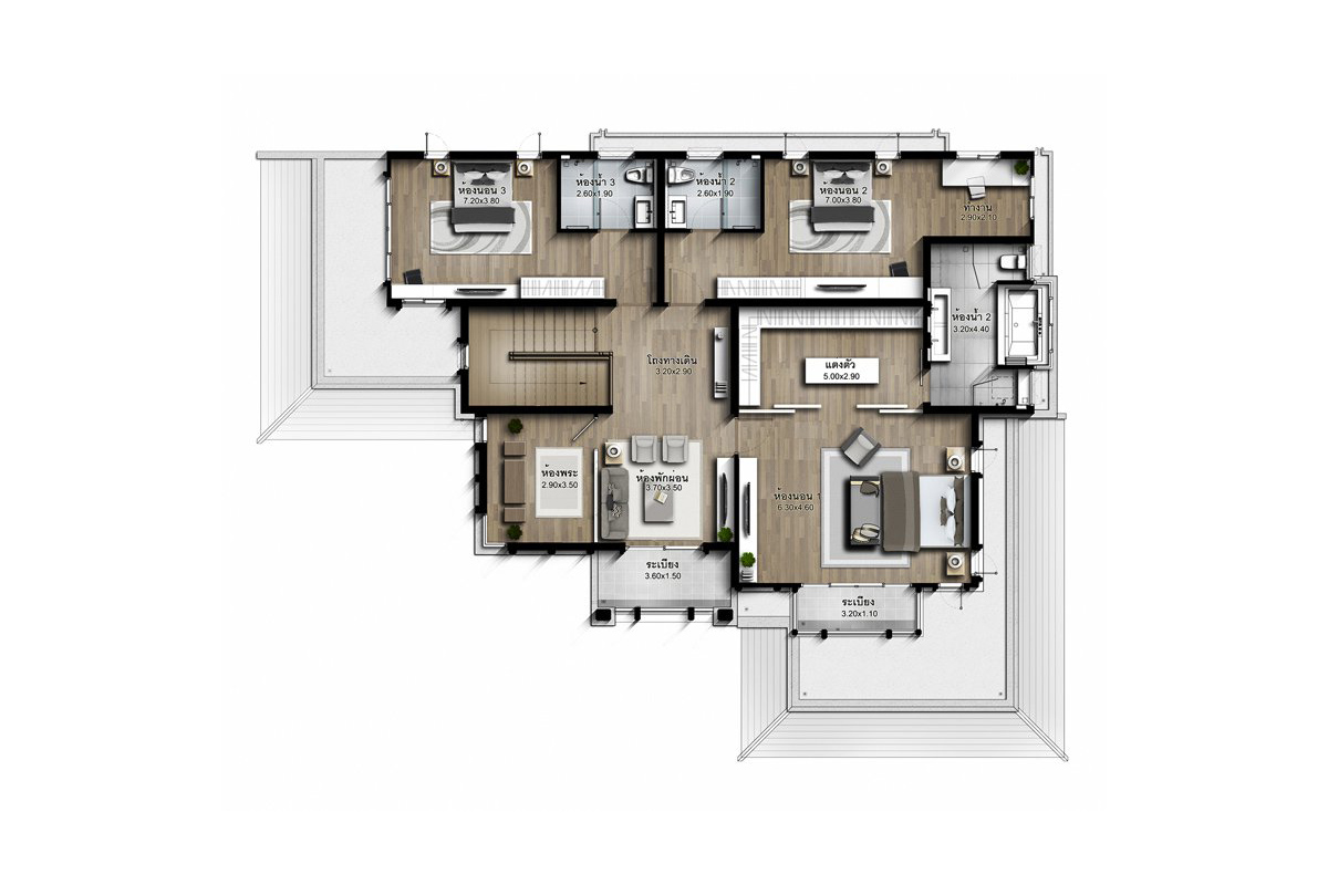 บ้านเดี่ยว นาราสิริ พระราม 2 - แบบบ้าน Marco B ชั้น 2