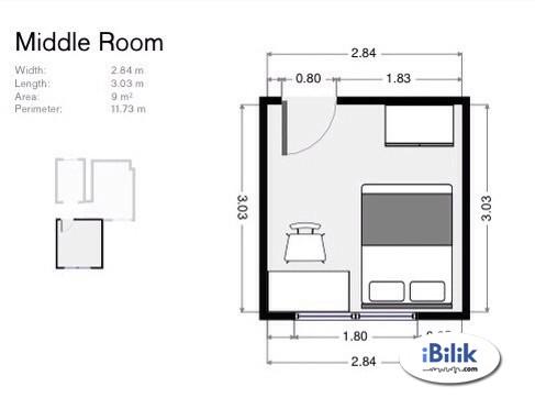 Middle Room at Kelana Mahkota Condo, Kelana Jaya. Utilities included.