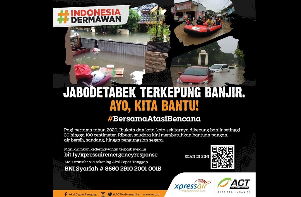 Kolaborasi dengan ACT, Xpress Air Ajak Penumpang Peduli Banjir' photo