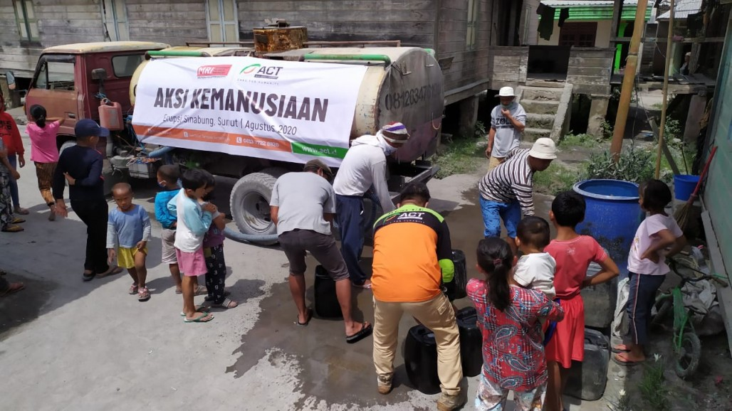 Humanity Water Tank Provides Clean Water around Mount Sinabung