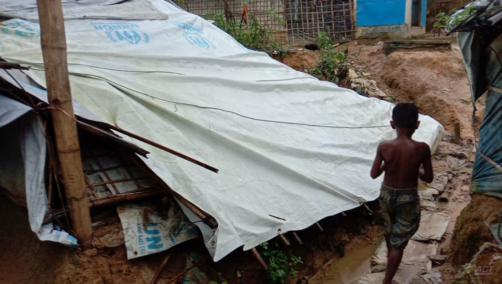 Rohingya Refugee Camp in Kutupalong Damaged by Rain