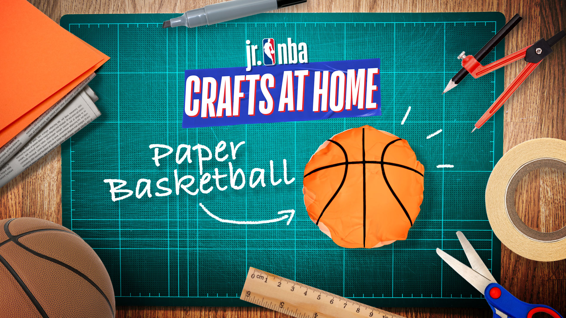 This image is for the Activity - Crafts At Home: How To Make A Paper Basketball