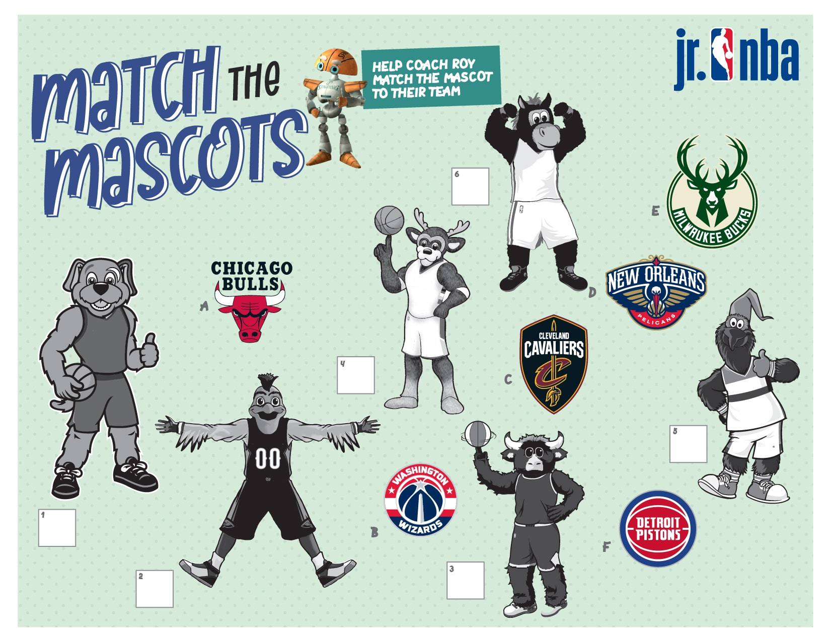 This image is for the Activity - Match the Mascots