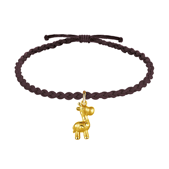 Hugging Family Three-dimensional Gold Charms with Cord Bracelets-Giraffe Fortune Buddy