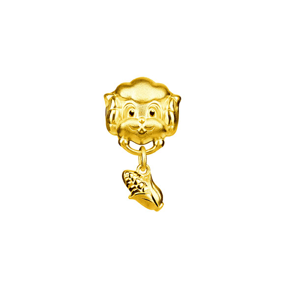 Three-dimensional Gold Charms-Ram with Corn