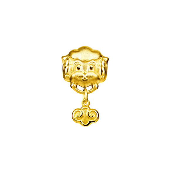 Three-dimensional Gold Charms-Ram with Ruyi