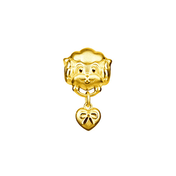 Three-dimensional Gold Charms-Ram with Ribbon Bow