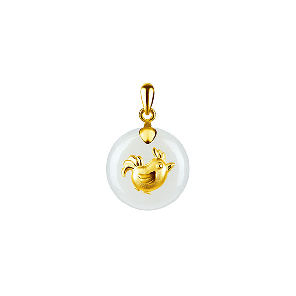 12 Chinese Zodiac Gold Pendant with Nephrite-Rooster