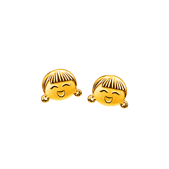 Hugging Family Gold Earrings-Ting-ting