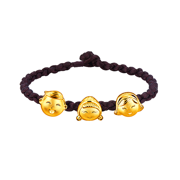 Hugging Family Three-dimensional Gold Charms with Cord Bracelet