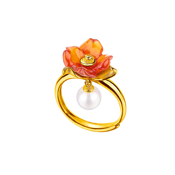 Gold Ring with Pearl and Chalcedony