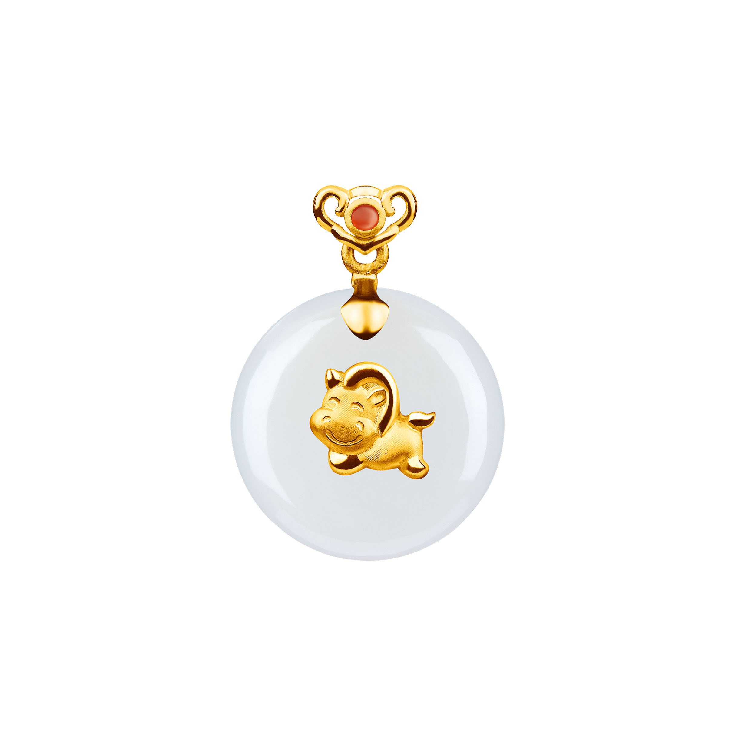 12 Chinese Zodiac Gold Pendant with Nephrite-Horse