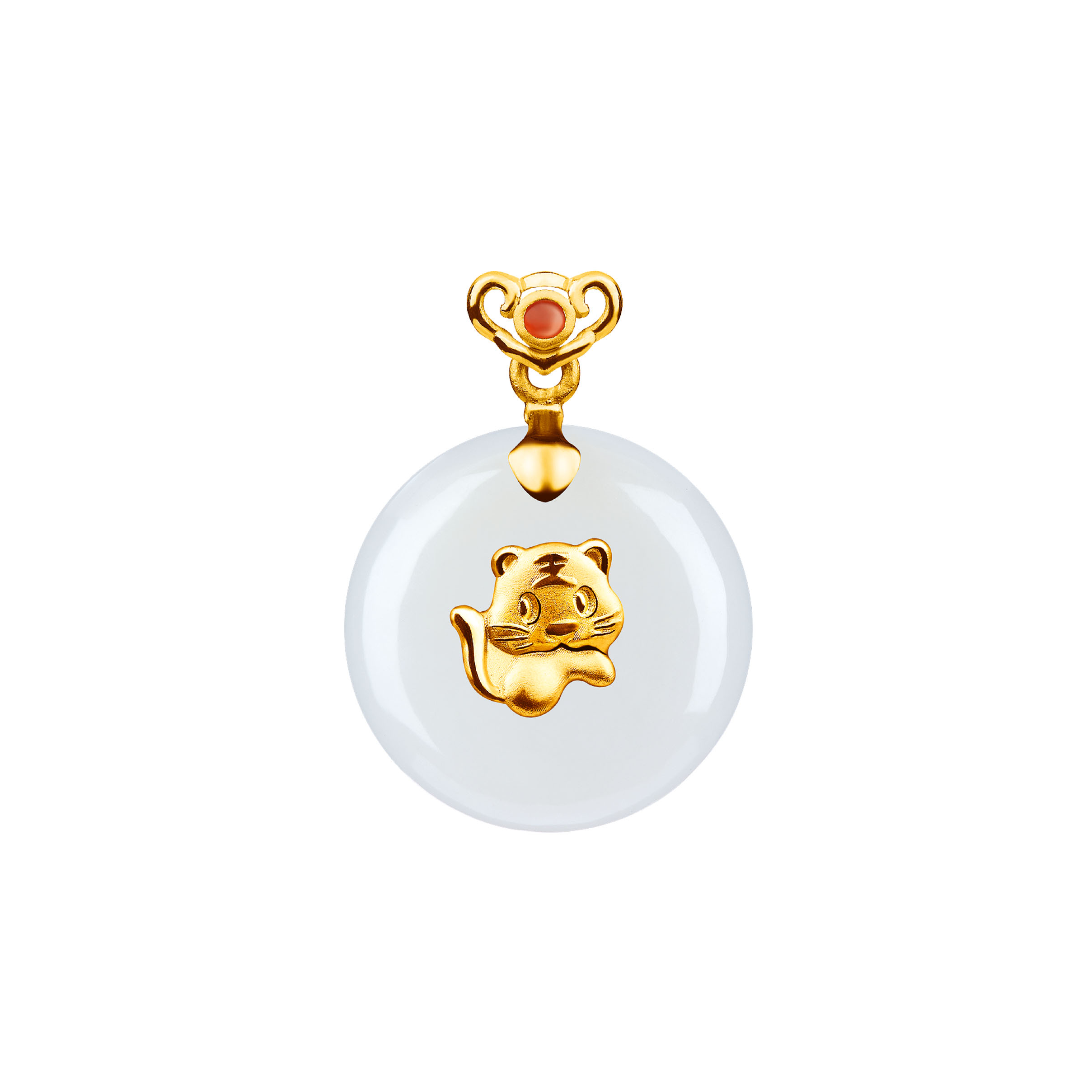 12 Chinese Zodiac Gold Pendant with Nephrite-Tiger