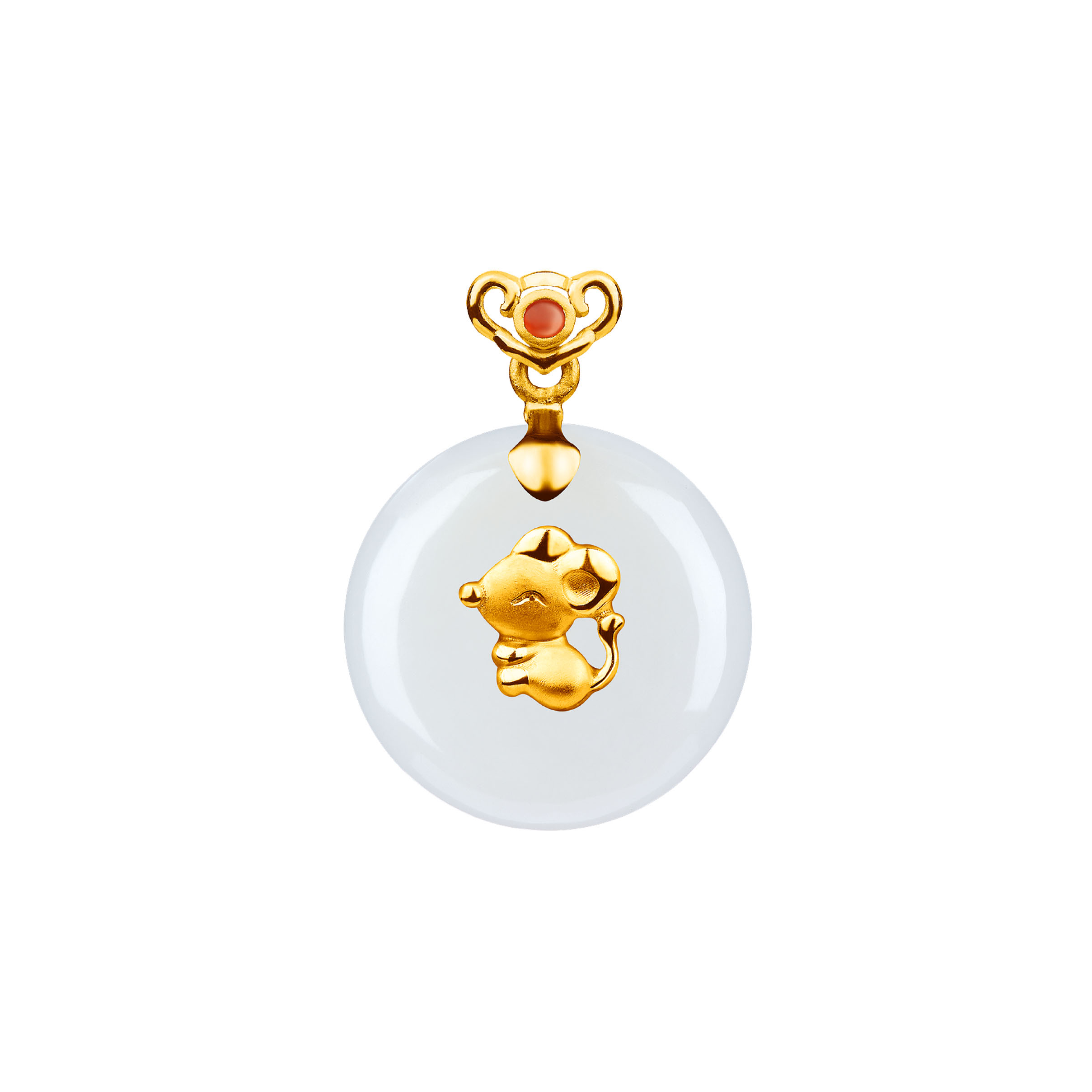 12 Chinese Zodiac Gold Pendant with Nephrite-Rat