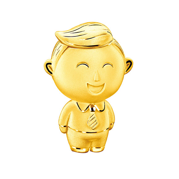 Hugging Family Three-dimensional Daddy Franky Gold Figurine
