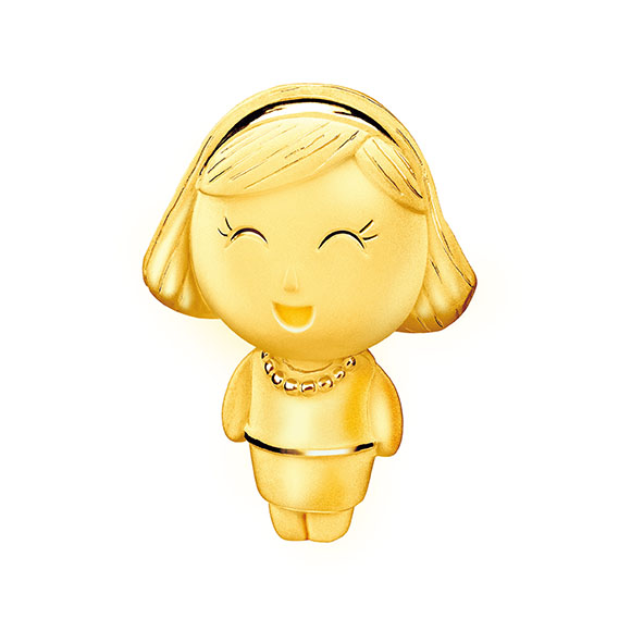 Hugging Family Three-dimensional Mummy Lucy Gold Figurine