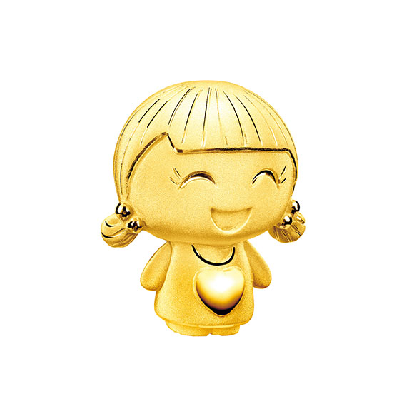 Hugging Family Three-dimensional Ting-ting Gold Figurine