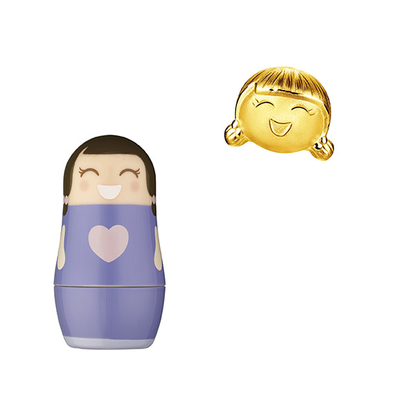 Hugging Family Ting-ting Gold Charm