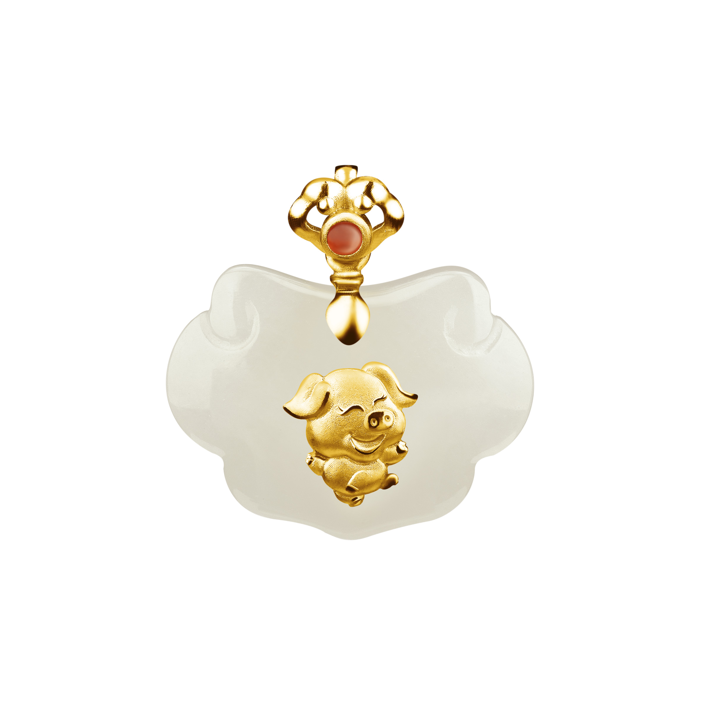 12 Chinese Zodiac Gold Pendant with Nephrite-Pig