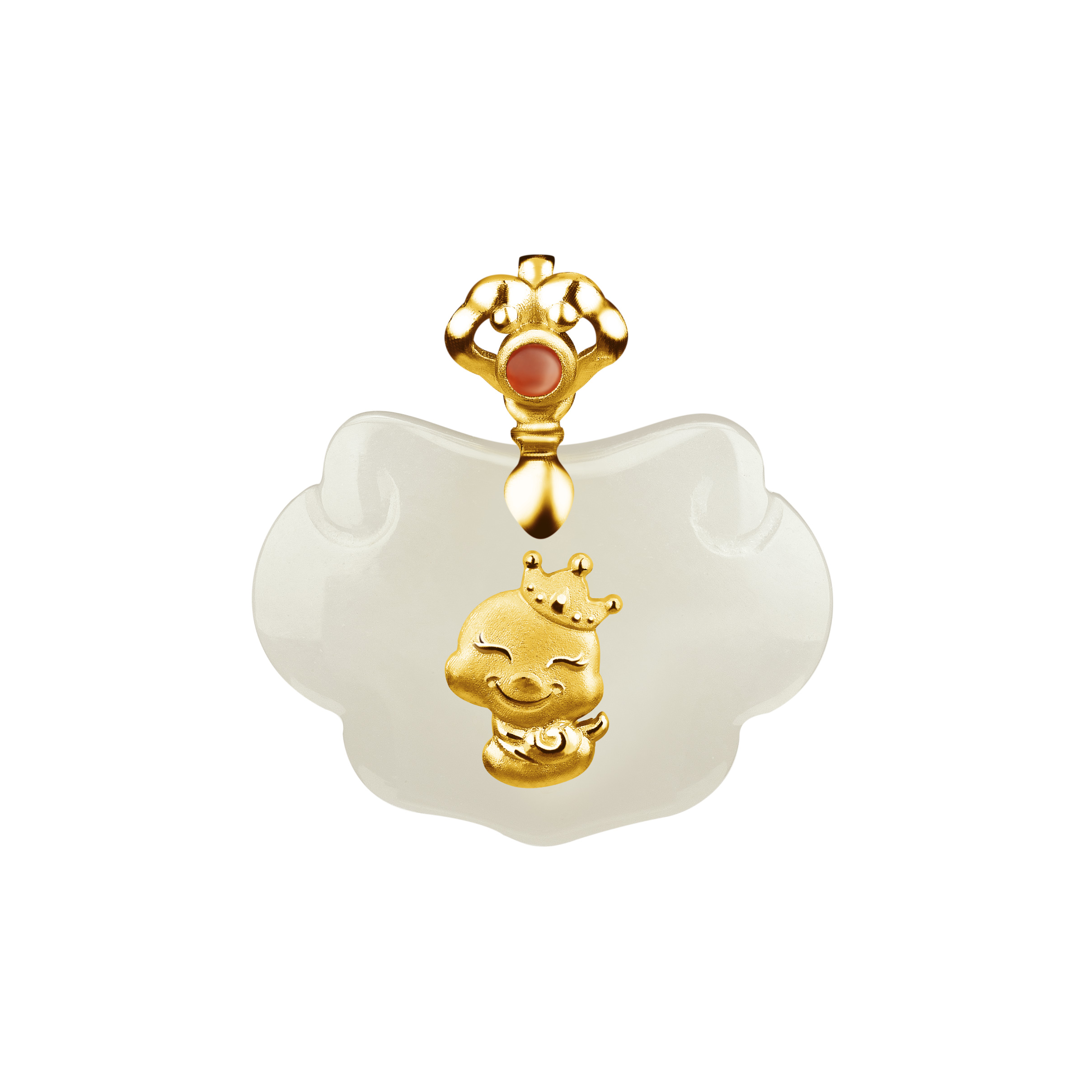 12 Chinese Zodiac Gold Pendant with Nephrite-Snake