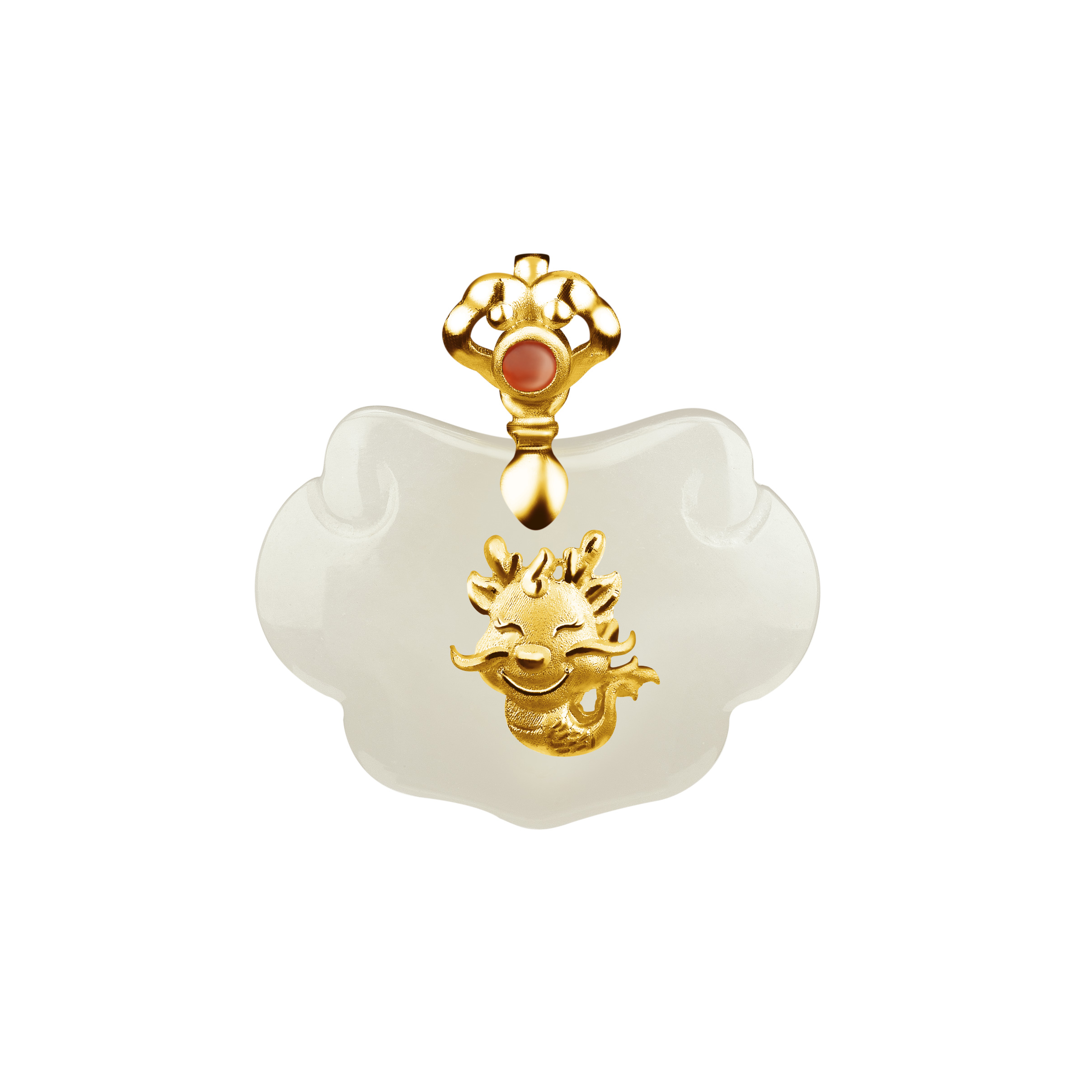 12 Chinese Zodiac Gold Pendant with Nephrite-Dragon