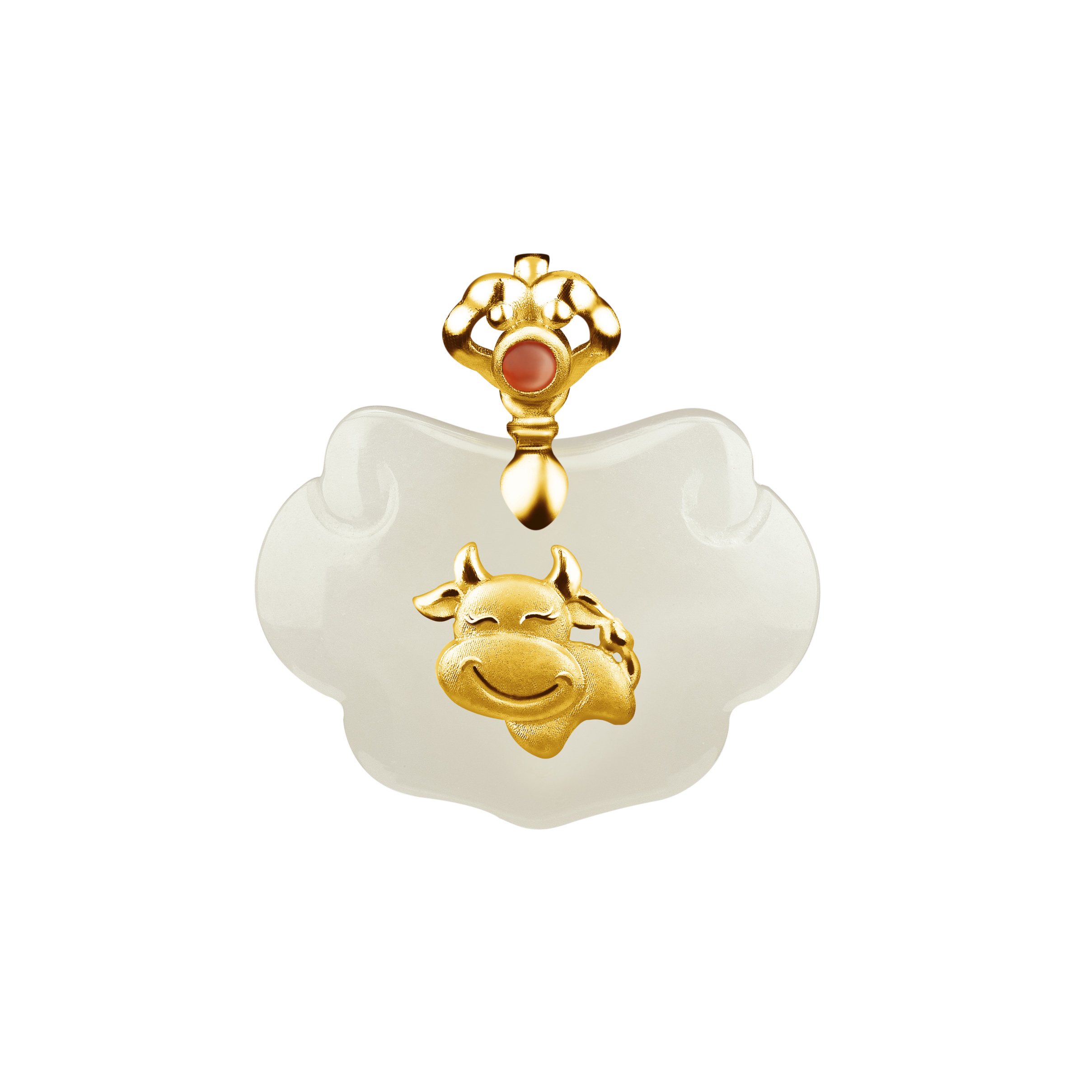 12 Chinese Zodiac Gold Pendant with Nephrite-Ox