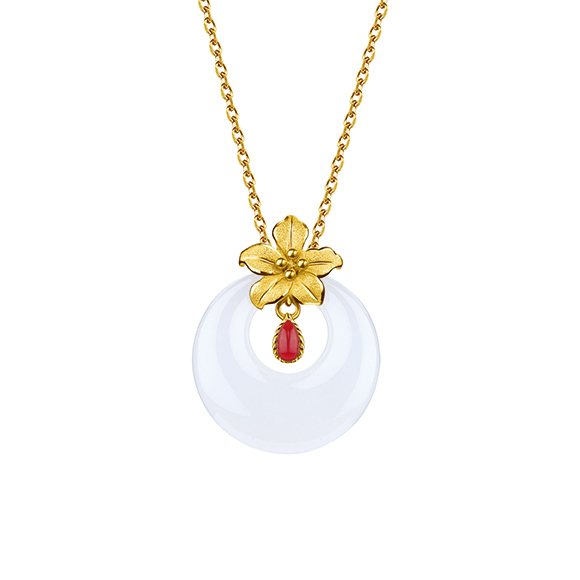 Gold and Nephrite Pendants-Lily
