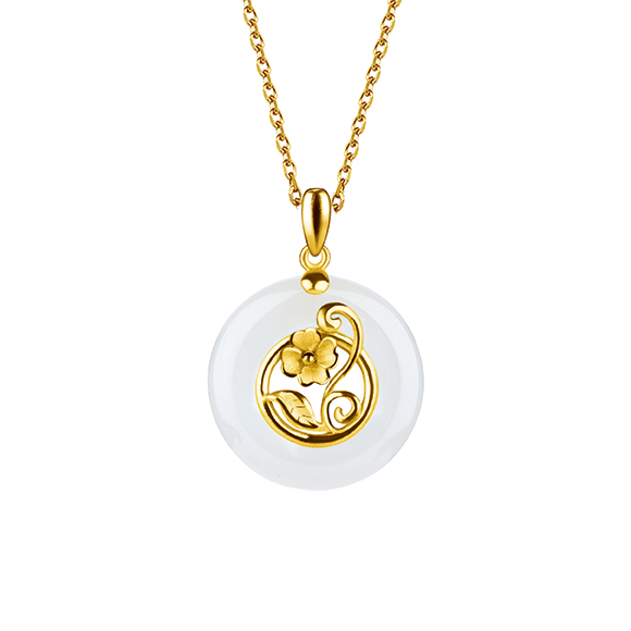 Gold and Nephrite Pendants-Carnation