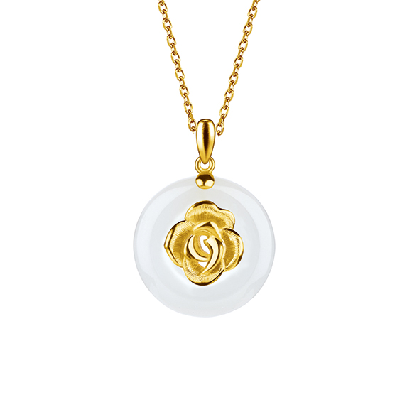 Gold and Nephrite Pendants-Rose