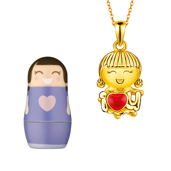 Hugging Family Ting-ting Gold Pendant with Enamel