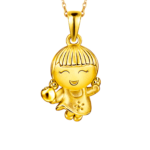 Hugging Family Ting-ting Three-Dimensional Gold Pendant