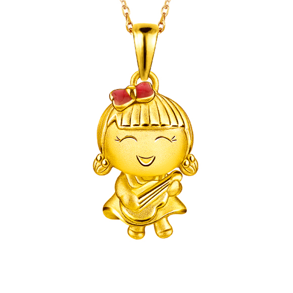 Hugging Family Ting-ting Three-Dimensional Gold Pendant with Enamel