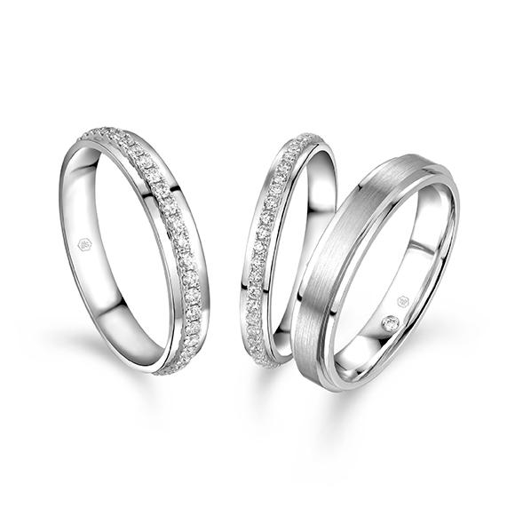 Wedding Collection 18K White Gold paired ring
