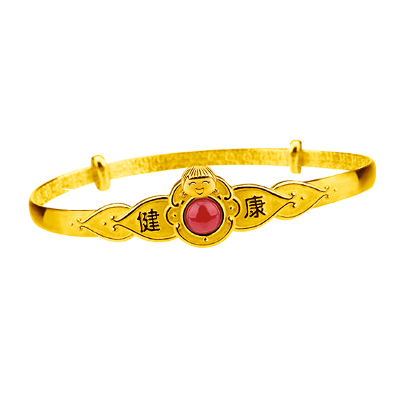"""Hugging Family Ting-ting Gold Bangle with Red Chalcedony &""""Hugging Family"""" Baby Gift Box"""