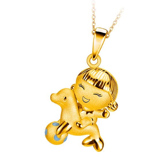 Hugging Family Ting-ting & Sea Lion Three dimensional Gold Pendant