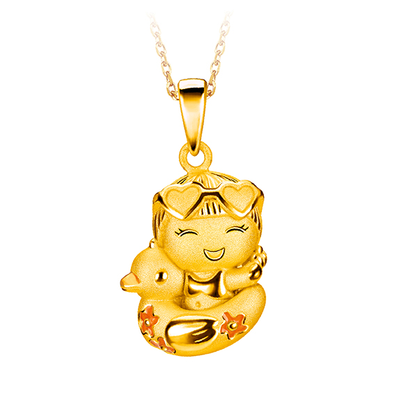 Hugging Family Ting-ting & Duck Life Buoy Three dimensional Gold Pendant