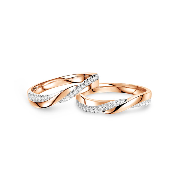 """Wedding Collection""""Hand in Hand"""" 18K Gold Diamond Engagement and Wedding Rings"""