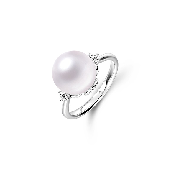 """Wedding Collection""""Eternal Happiness""""18K White Gold Diamond Ring with Pearl"""